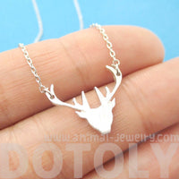 Stag Deer Silhouette Shaped Charm Necklace in Silver | Animal Jewelry