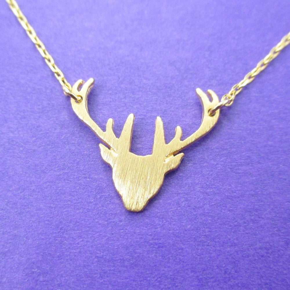 Stag Deer Silhouette Shaped Pendant Necklace in Gold | Animal Jewelry