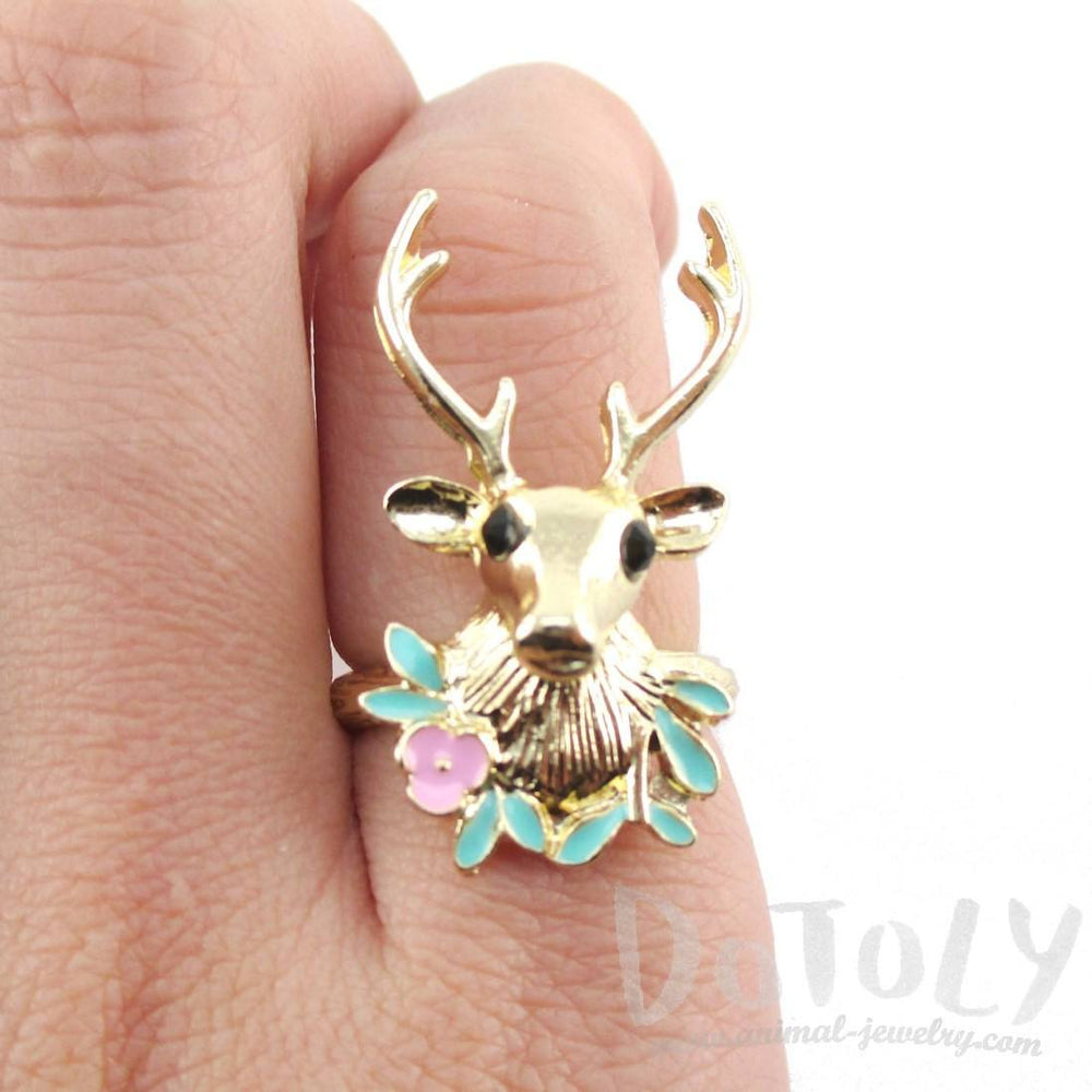 Stag Head Trophy Shaped Animal Ring in Gold | DOTOLY