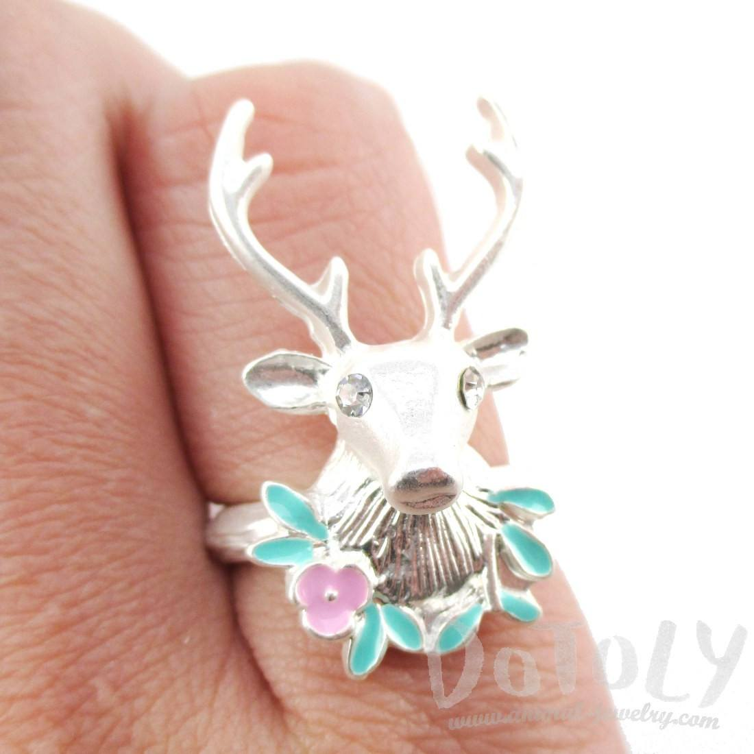 Stag Head Trophy Shaped Animal Ring in Silver | DOTOLY