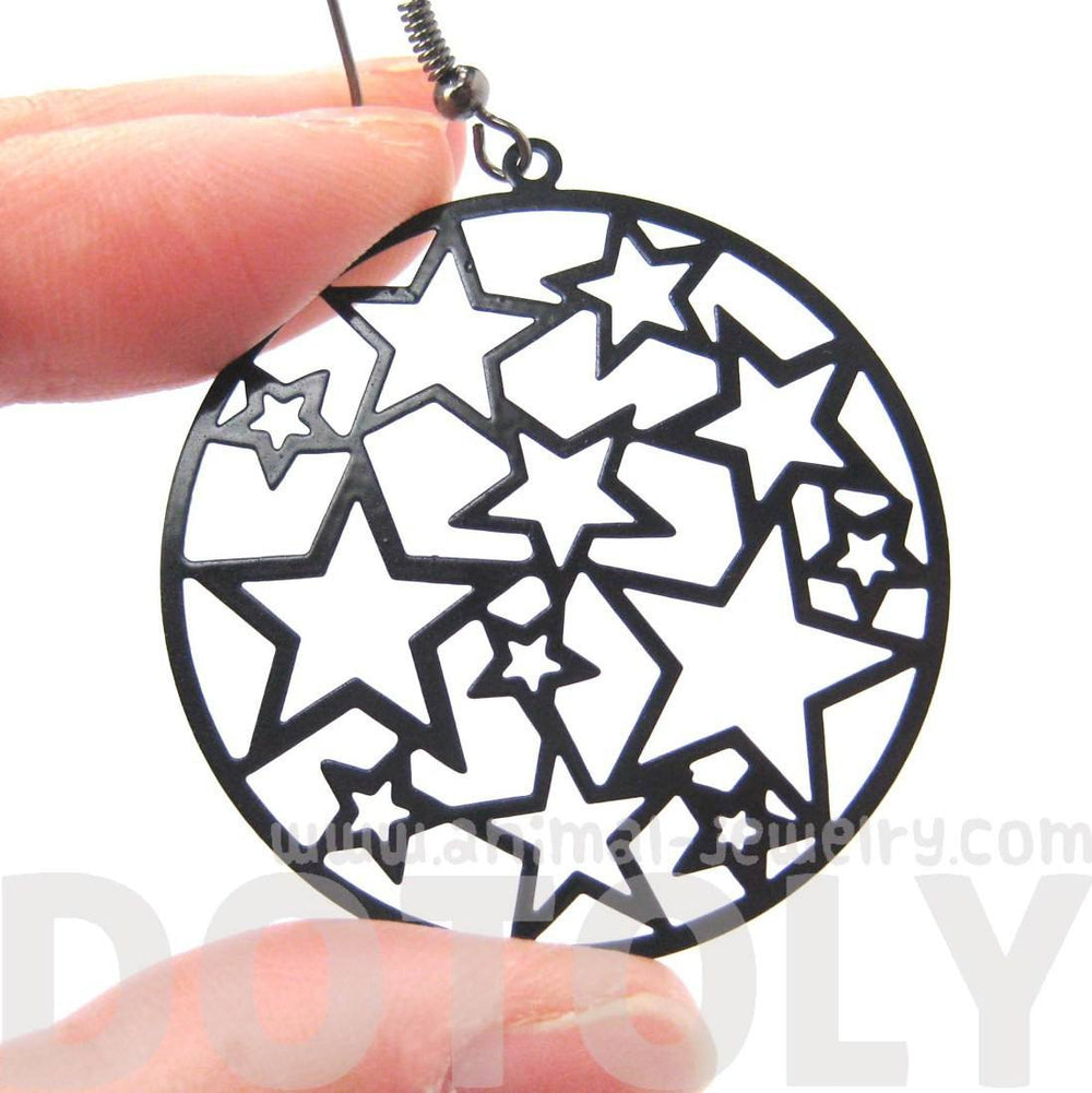 Star Outline Cut Out Round Disk Shaped Dangle Drop Earrings in Black