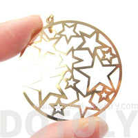 Star Outline Cut Out Round Disk Shaped Dangle Drop Earrings in Gold | DOTOLY
