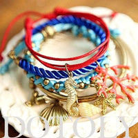 Sea Creatures Themed Charm Bracelet 5 Piece Set: Starfish Seahorse Seashell | DOTOLY