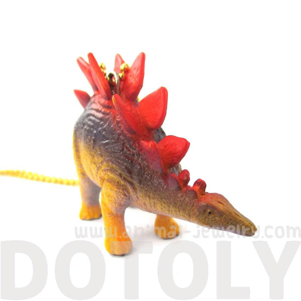 Colorful Stegosaurus Dinosaur Shaped Pendant Necklace | Animal Jewelry