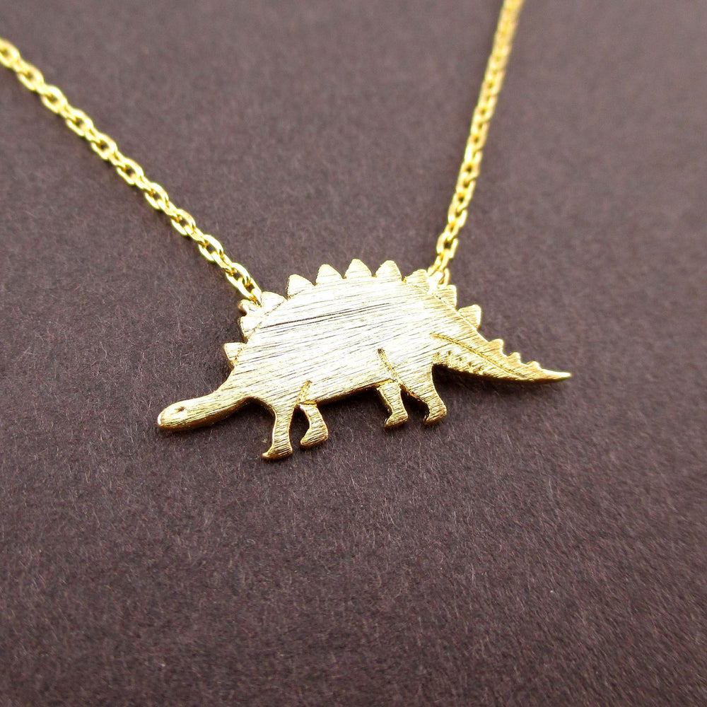 Stegosaurus Dinosaur Jurassic World Themed Charm Necklace in Gold