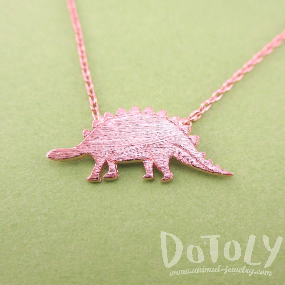 Stegosaurus Dinosaur Jurassic World Themed Charm Necklace in Rose Gold