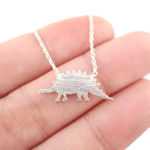 Stegosaurus Dinosaur Jurassic World Themed Charm Necklace in Silver
