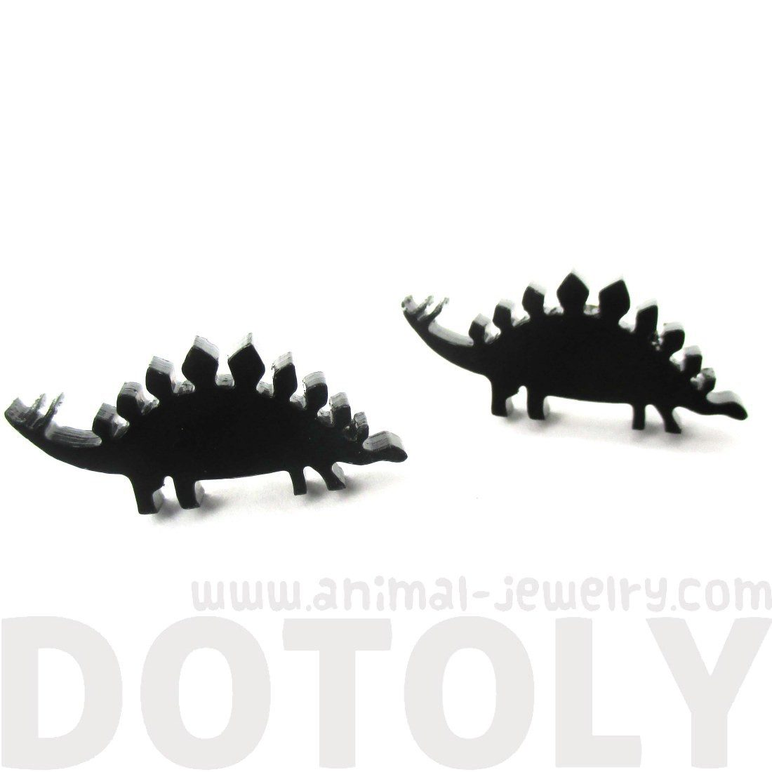 Stegosaurus Silhouette Dinosaur Shaped Laser Cut Black Stud Earrings