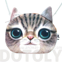 Striped Tabby Kitty Cat Face Shaped Cross Body Shoulder Sling Bag