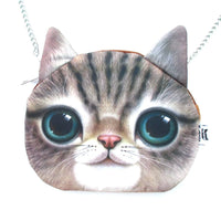 Striped Tabby Kitty Cat Face Shaped Photo Digital Print X Body Shoulder Bag | DOTOLY