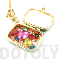 Suitcase Travel Bag Locket Full of Gems Necklace in Green: It Opens Up