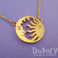 Sun and Crescent Moon Celestial Pendant Necklace in Gold | DOTOLY