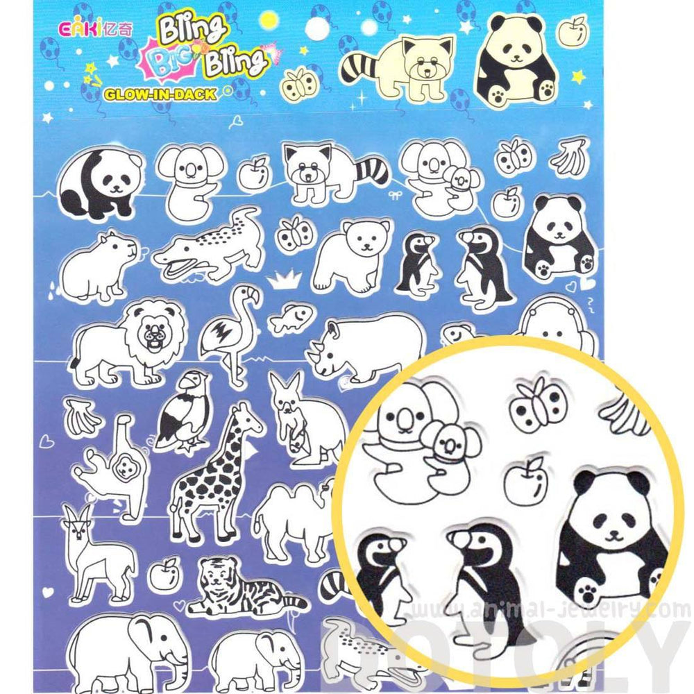 Mixed Animal Shaped Glow in the Dark Spongy Stickers