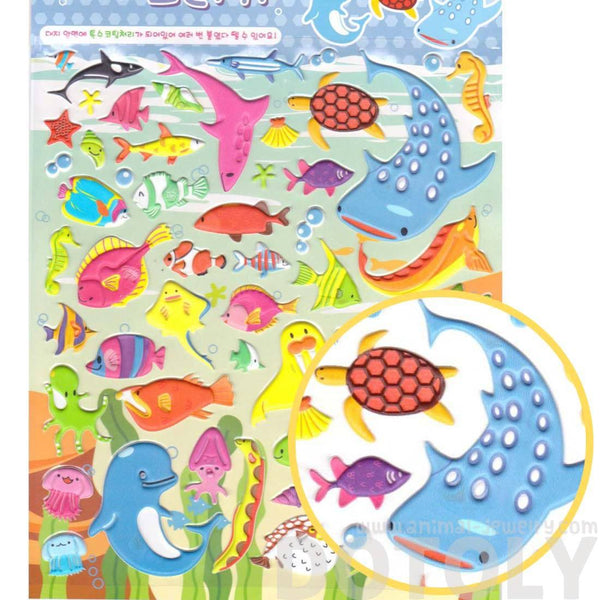 Sea Creatures Themed Shark Dolphin Fish Puffy Stickers