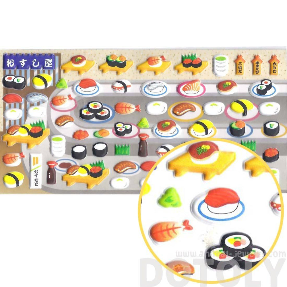 Super Cute Conveyor Belt Sushi Shaped Food Themed Puffy Stickers