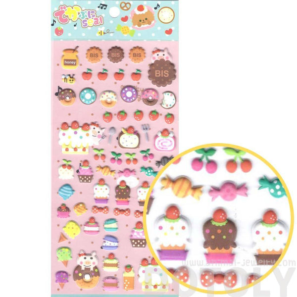 Super Cute Cupcakes Cakes Desserts and Pigs Shaped Puffy Stickers