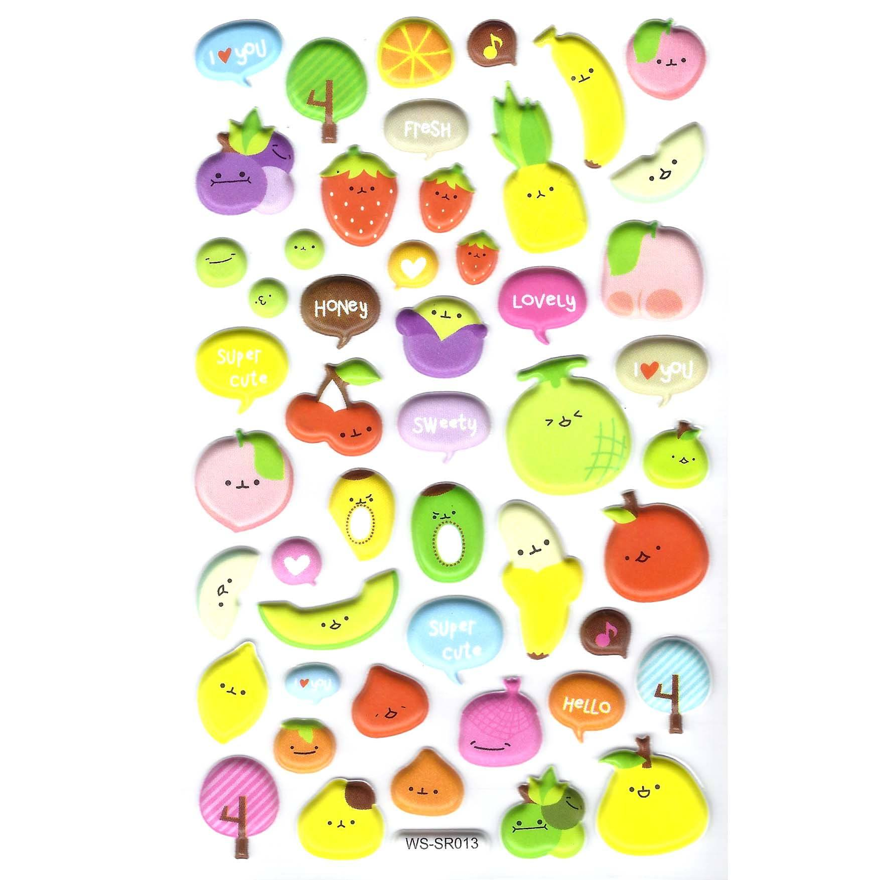 Super Cute Fruit Kiwi Banana Melon Strawberry Shaped Puffy Stickers