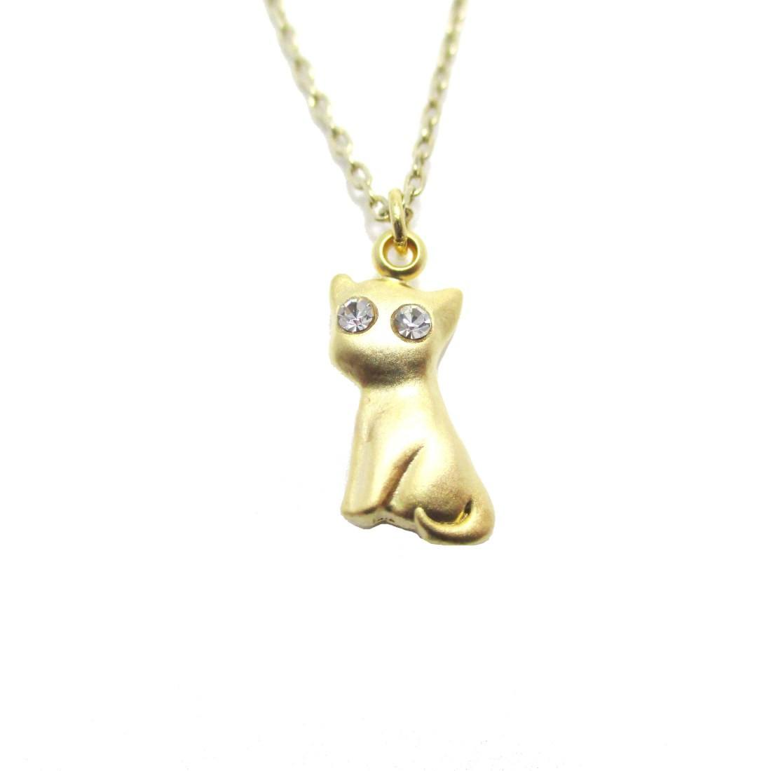 Kitty Cat Shaped Charm Necklace in Gold with Rhinestone