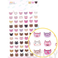 Cute Kitty Cat Head Face Shaped Animal Spongy Stickers