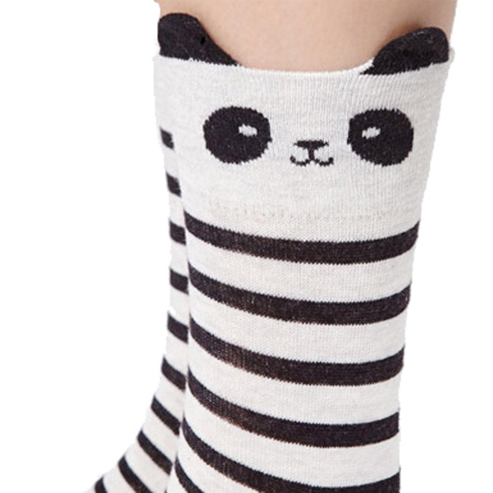 Super Cute Panda Bear and Stripes Patterned Cotton Socks in Grey