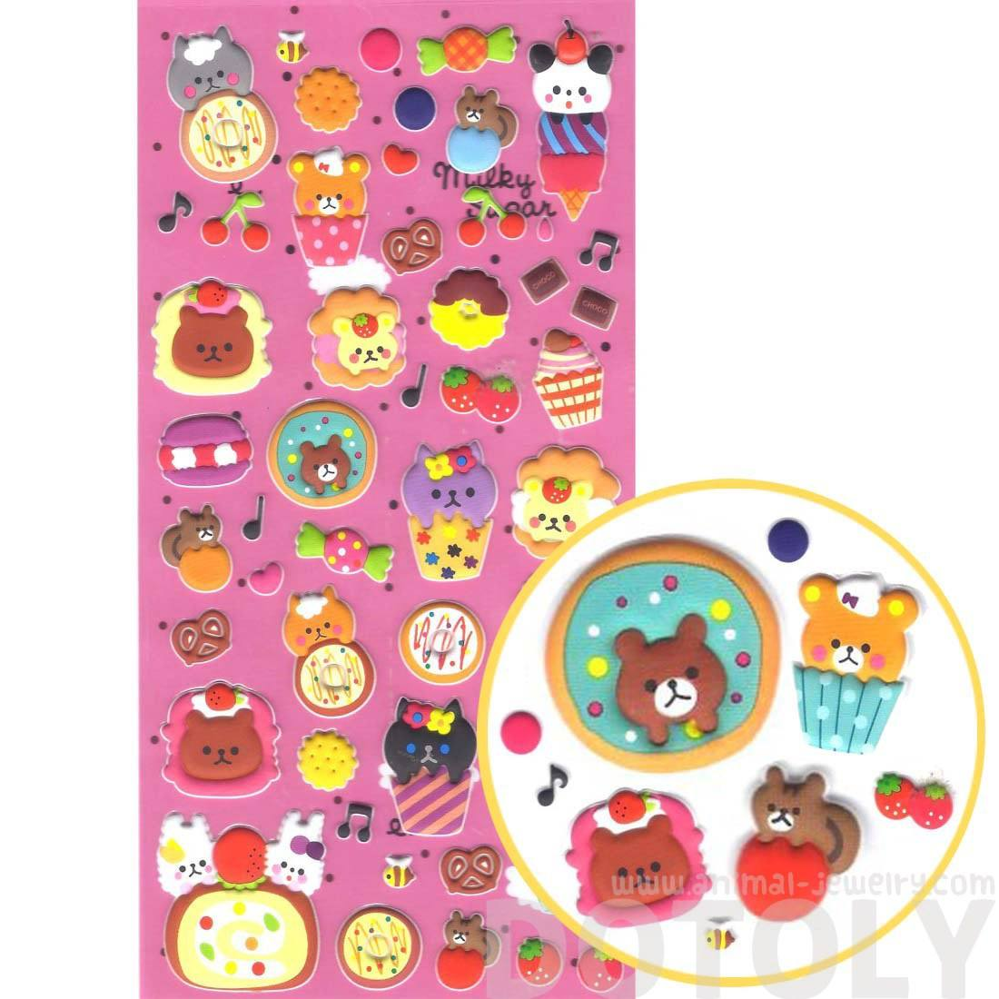 Super Cute Teddy Bears and Donuts Cakes Desserts Shaped Puffy Stickers