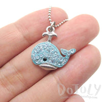 Adorable Whale Shaped Blue Rhinestone Pendant Necklace