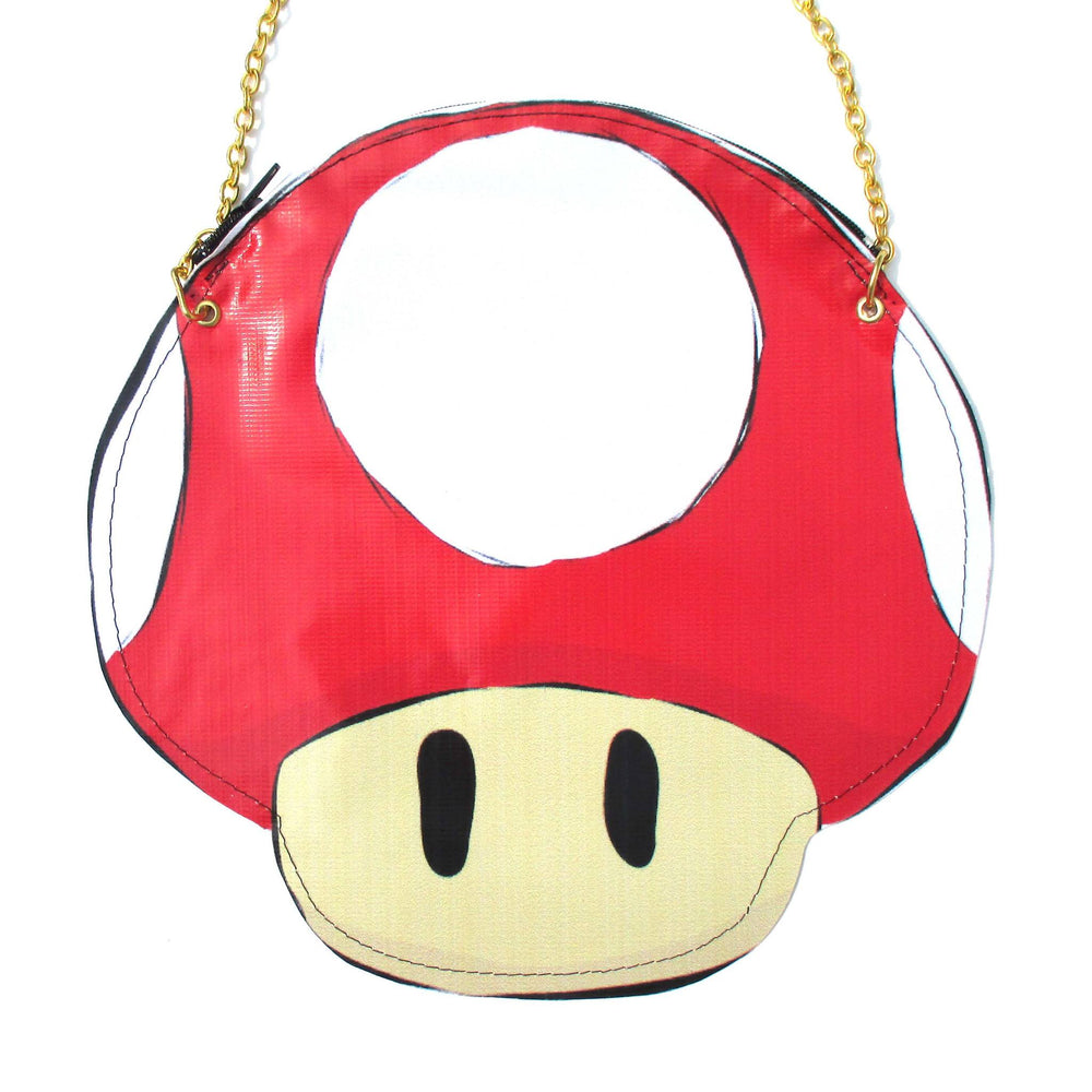 Super Mario Mushroom Power Up Shaped Vinyl Cross Body Shoulder Bag | DOTOLY | DOTOLY