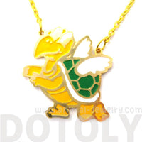 Super Mario Themed Koopa Troopa Turtle With Wings Pendant Necklace