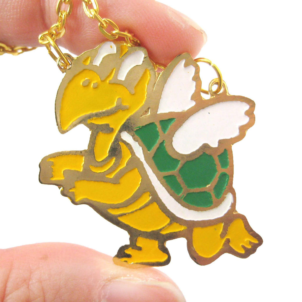 Super Mario Themed Koopa Troopa Turtle With Wings Pendant Necklace | Limited Edition | DOTOLY