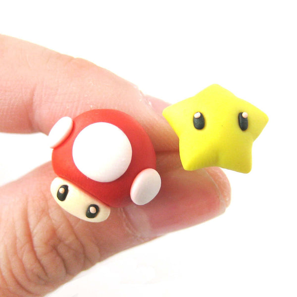 Super Mario Themed Mushroom and Super Star Power Up Polymer Clay Stud Earrings | DOTOLY