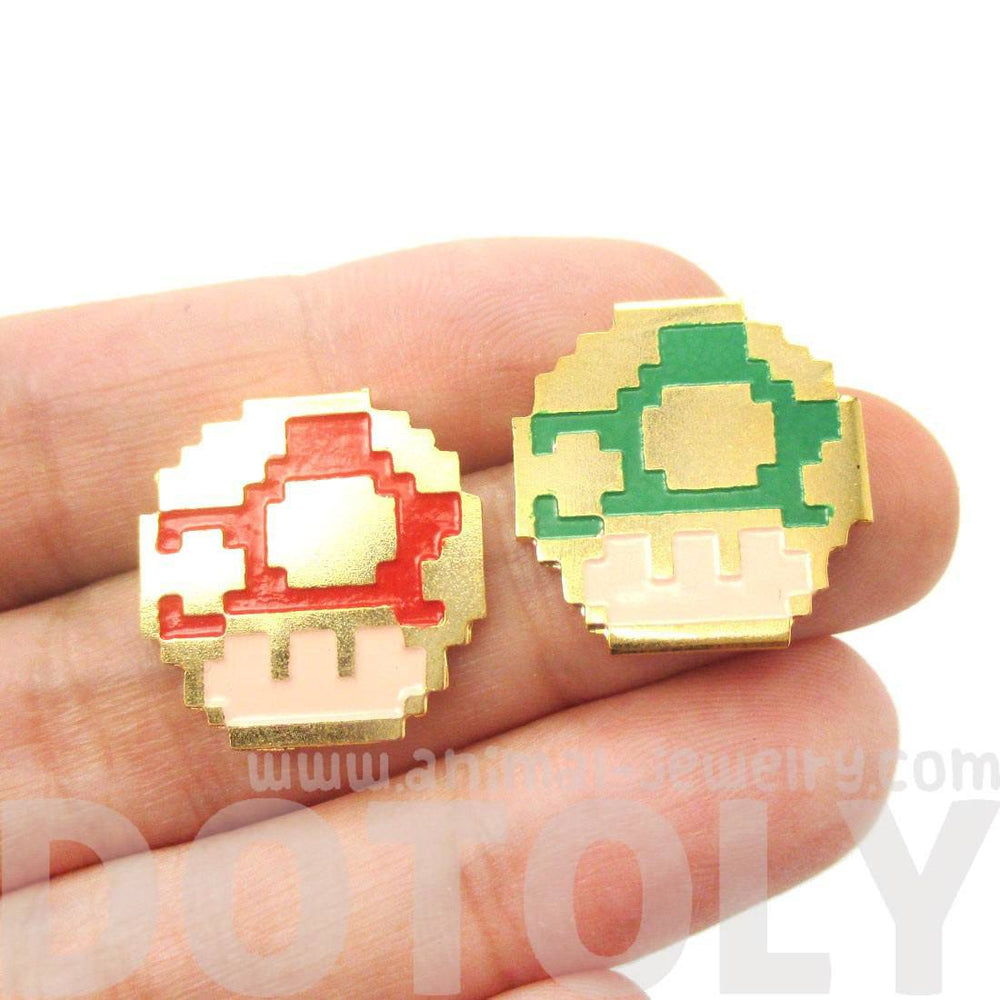 Super Mario Themed Mushroom Powerup Shaped Stud Earrings in Red and Green | Limited Edition Jewelry | DOTOLY