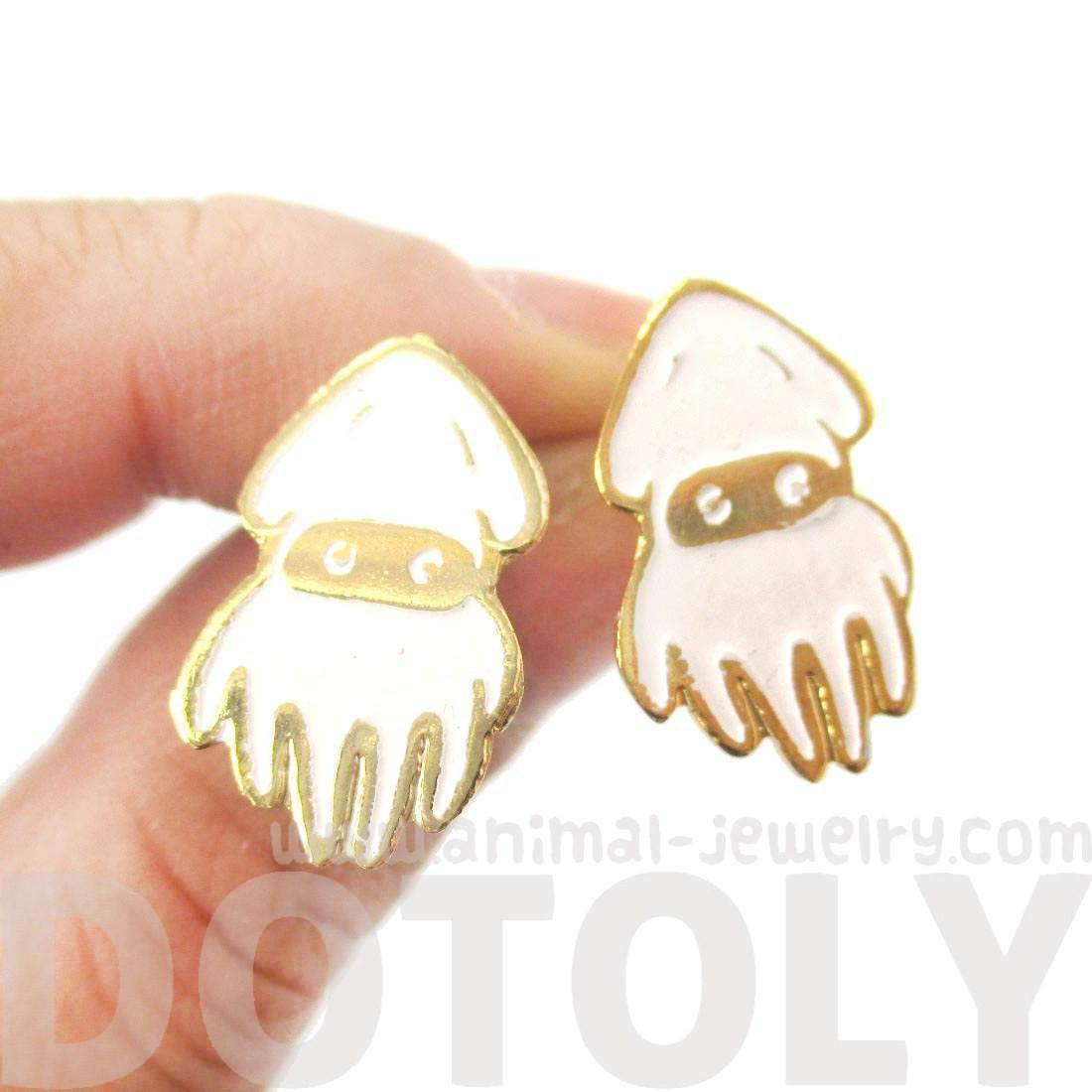 Super Mario Themed Blooper Squid Shaped Limited Edition Stud Earrings