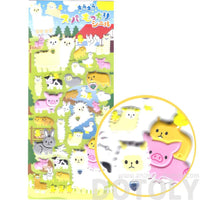 Super Puffy Alpaca Llama Pigs Farm Animal Shaped Stickers for Kids