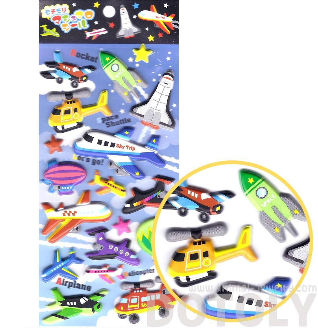 Super Puffy Cars Planes Spaceships Shaped Transport Themed Stickers
