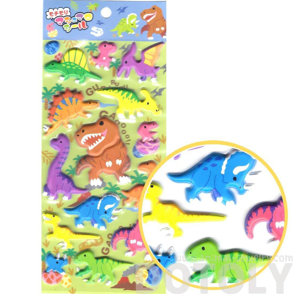 Super Puffy Colorful Dinosaur Shaped T Rex Triceratops Stickers