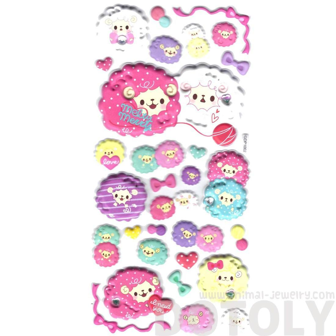 Super Puffy Girly Llama Sheep Animal Shaped Stickers for Scrapbooking
