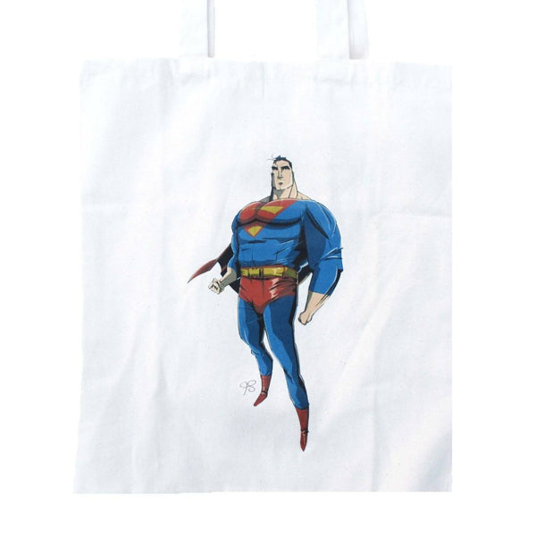 Superman Illustration Super Hero Canvas Tote Bag