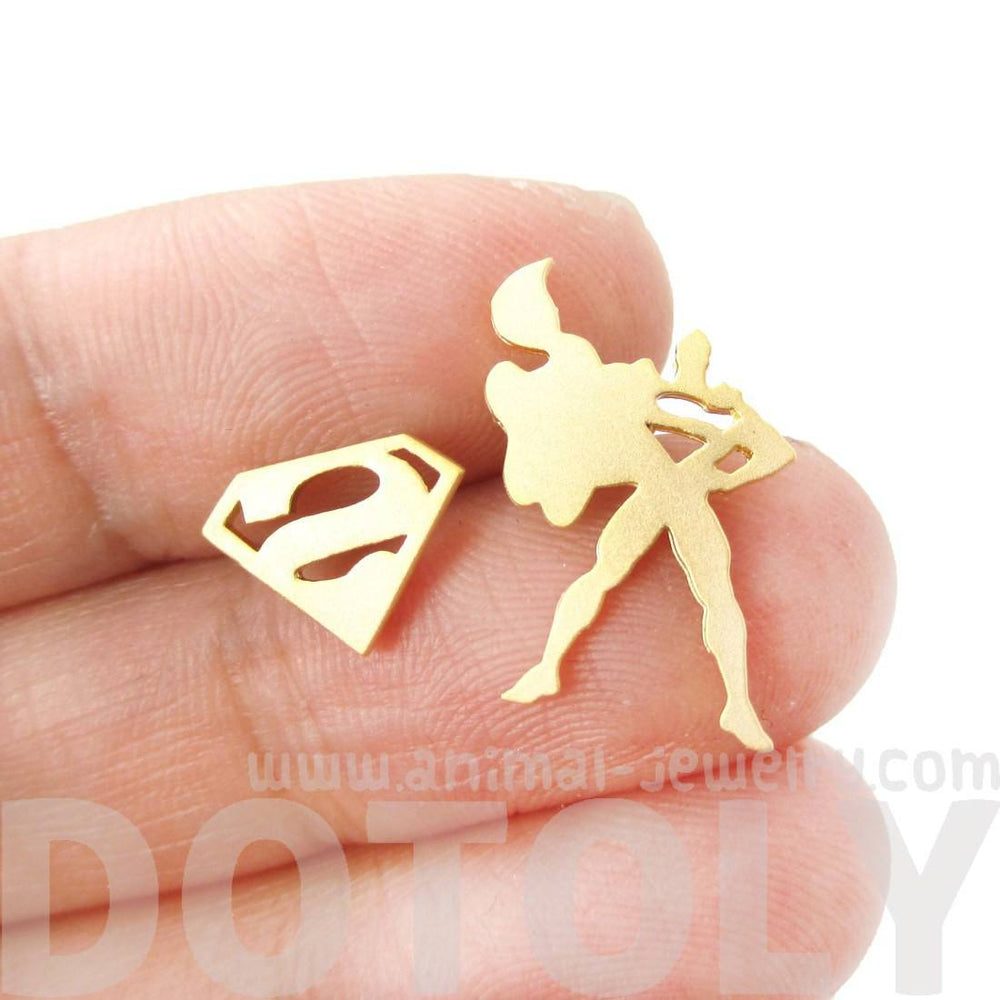 Superman Silhouette and Logo Symbol Shaped Stud Earrings in Gold