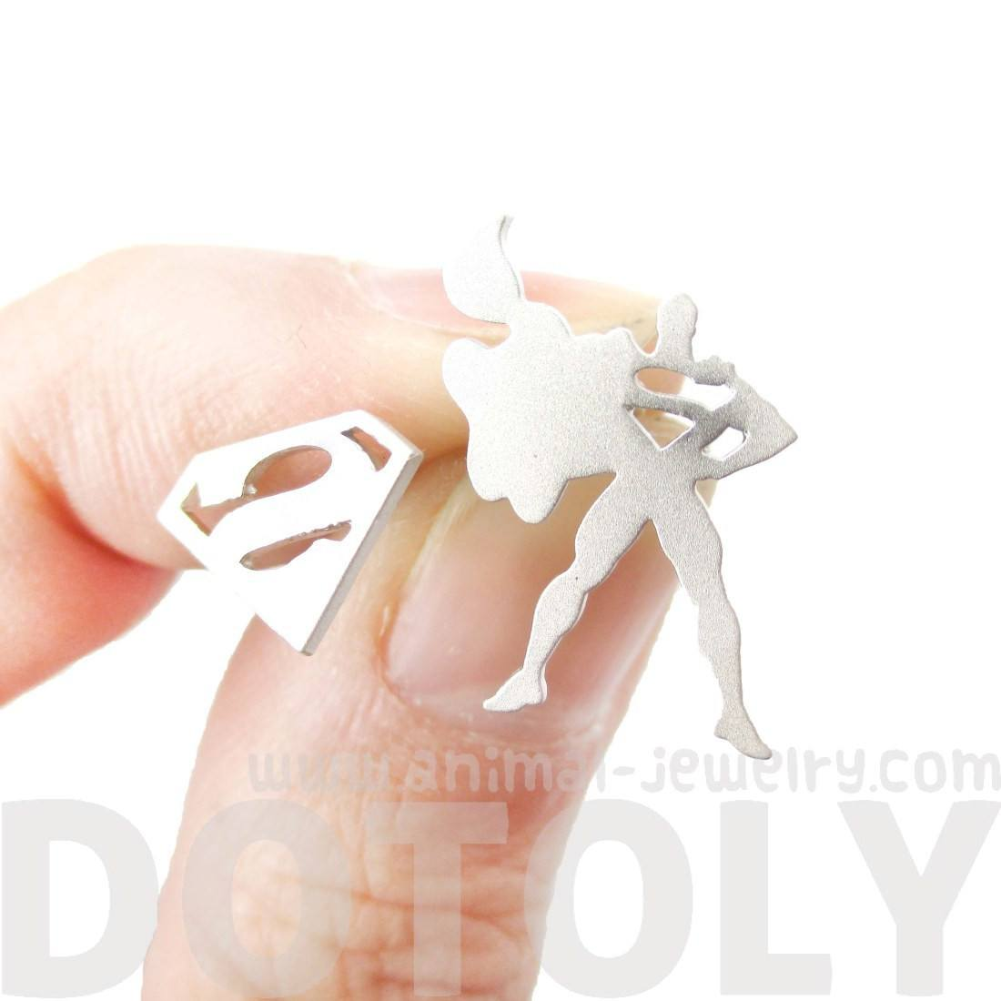 Superman Silhouette and Logo Symbol Shaped Stud Earrings in Silver