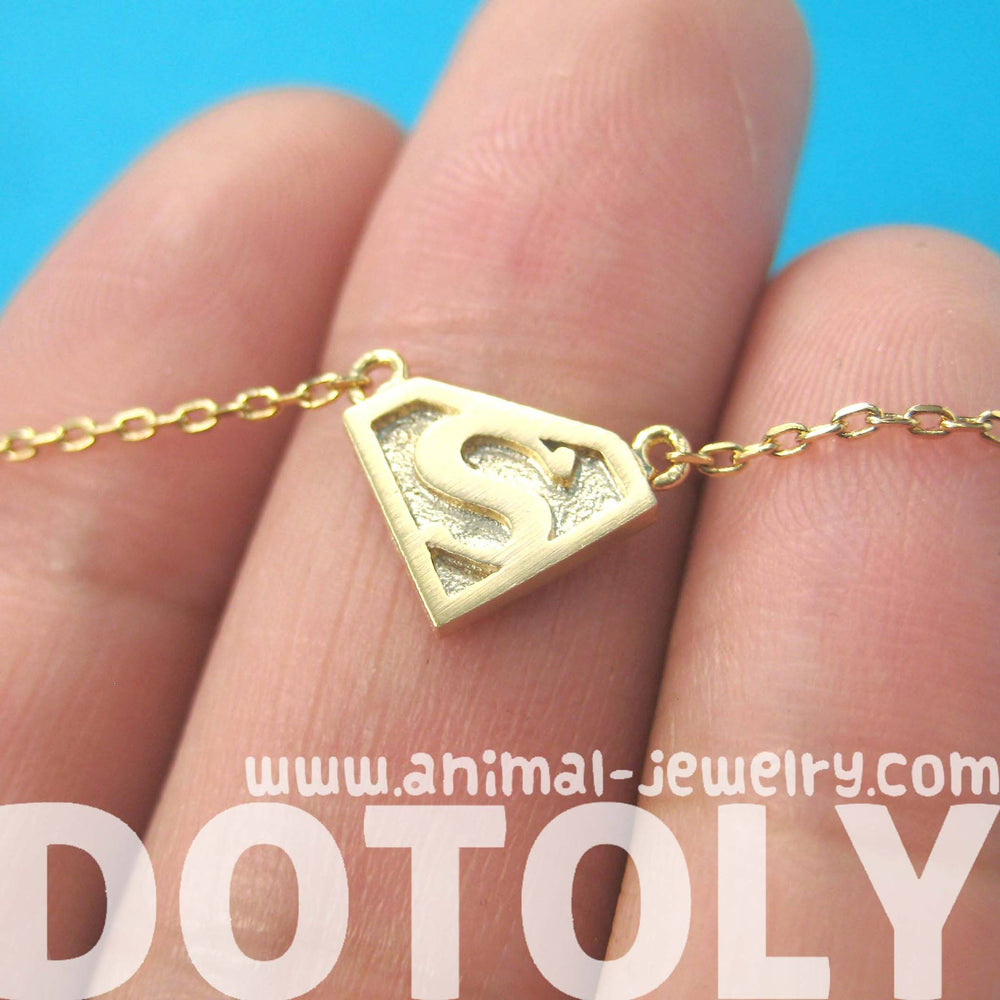 Superman Symbol Super Hero Logo Charm Necklace in Gold | DOTOLY