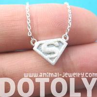Superman Symbol Super Hero Logo Charm Necklace in Silver | DOTOLY