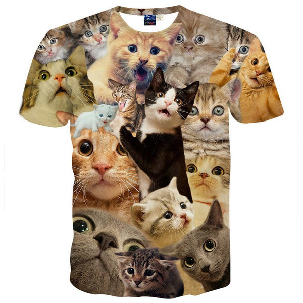 Surprised Kitty Cat Collage Photo Print Graphic Tee
