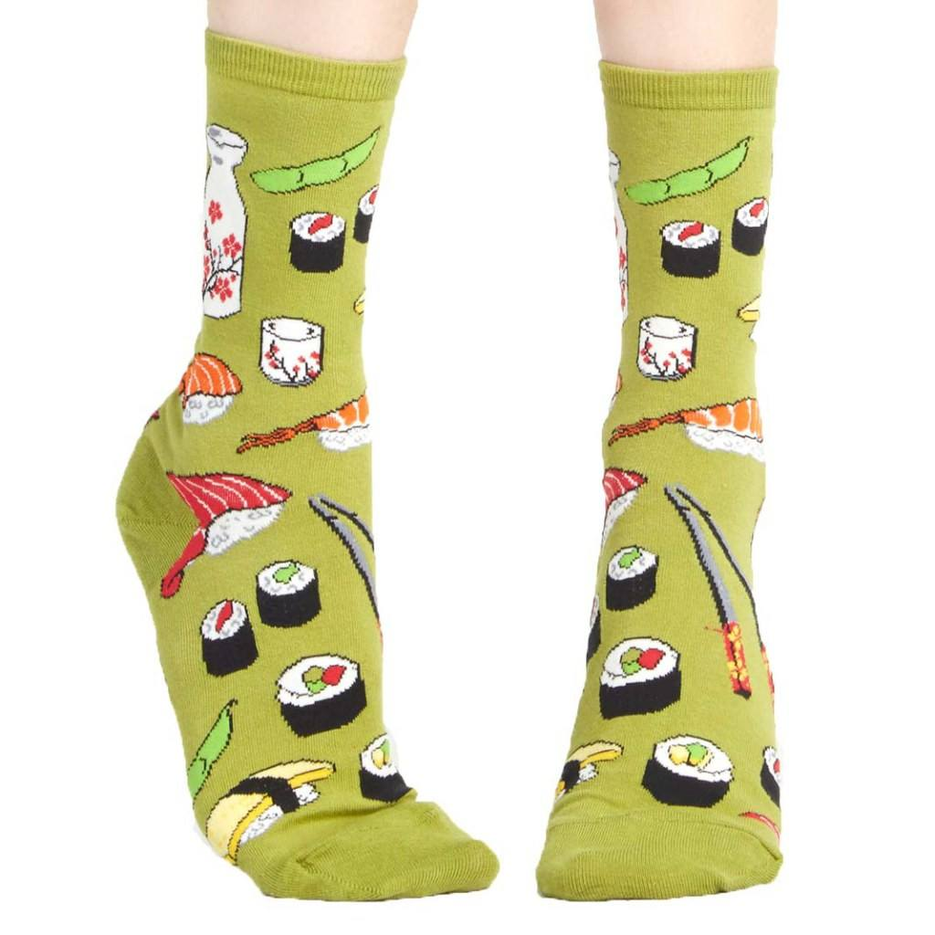 Sushi Patterned Food Themed Socks in Olive Green