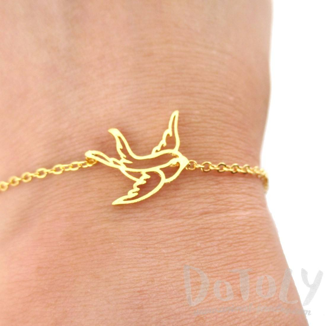 Swallow Bird Outline Shaped Charm Bracelet in Gold | Animal Jewelry