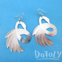 Swan Bird Silhouette Cut Out Shaped Filigree Dangle Earrings in Silver | DOTOLY | DOTOLY