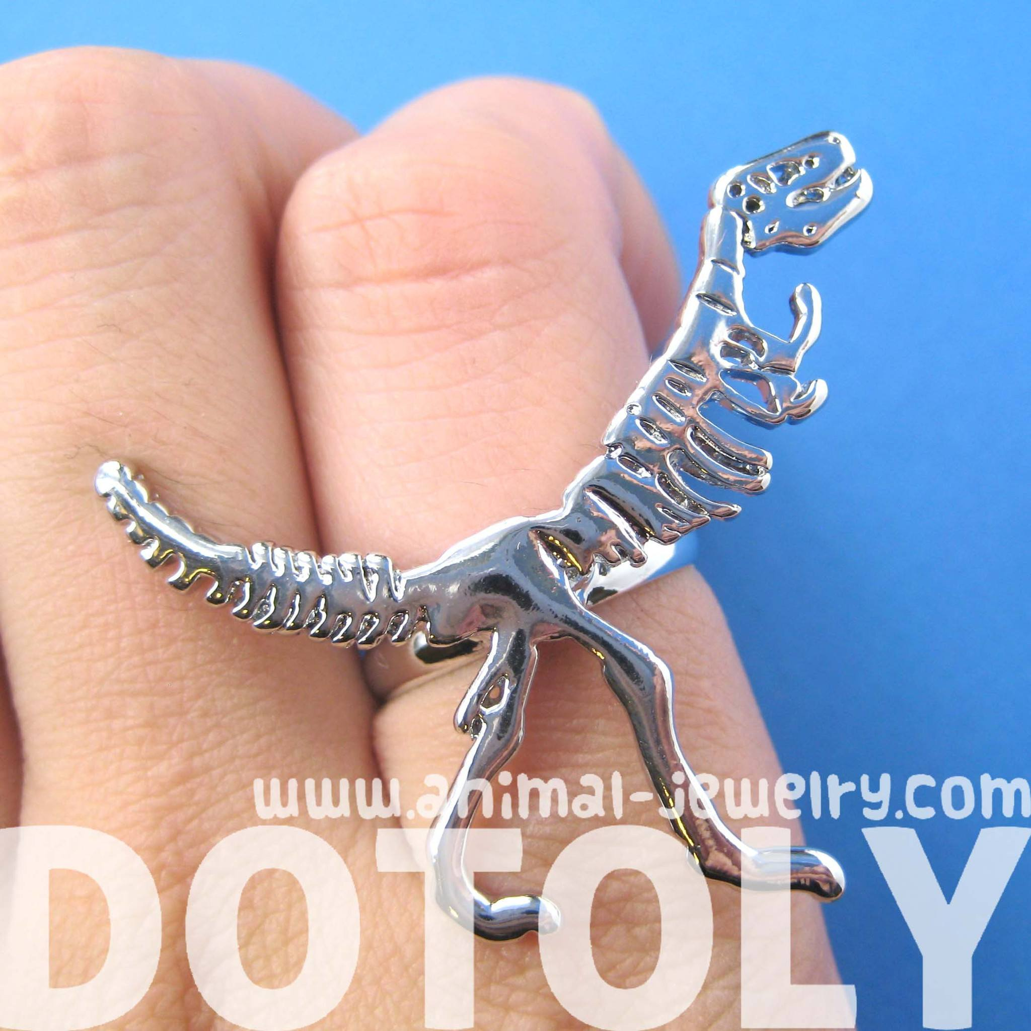 T-Rex Dinosaur Fossil Skeleton Bones Adjustable Ring in Shiny Silver