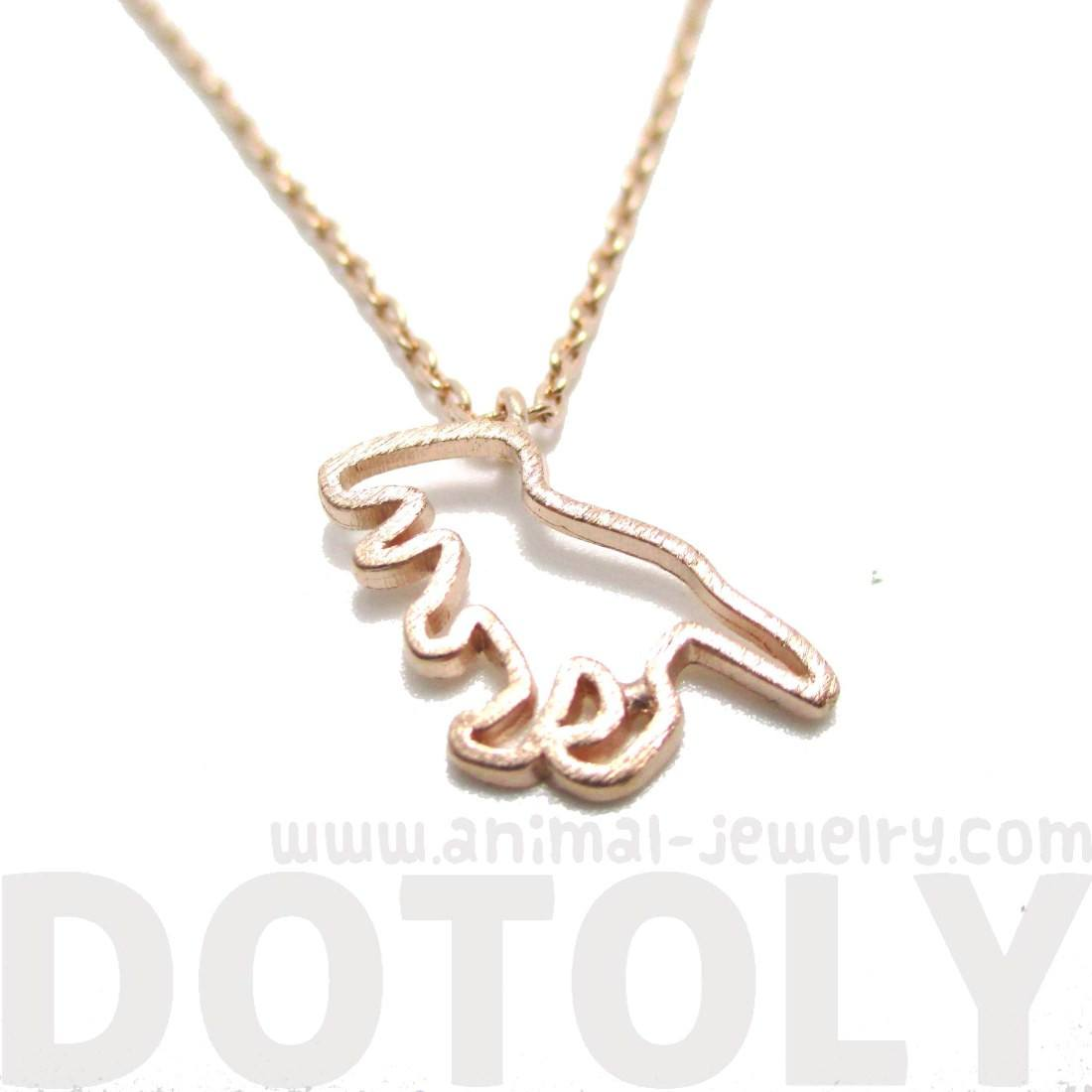 T-Rex Dinosaur Outline Charm Necklace in Rose Gold