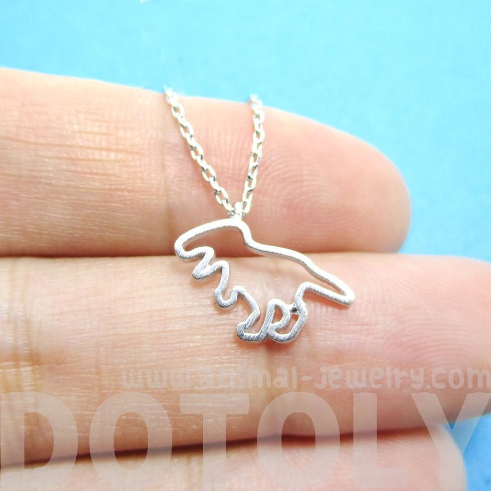 T-Rex Dinosaur Outline Shaped Charm Necklace in Silver