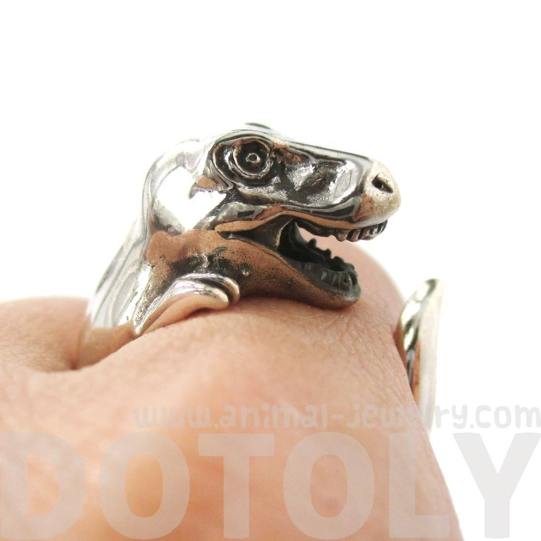 T Rex Dinosaur Shaped Animal Wrap Ring in 925 Sterling Silver