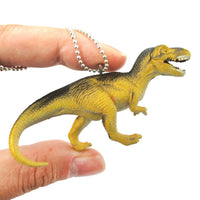 T-Rex Dinosaur Shaped Figurine Pendant Necklace in Yellow and Grey